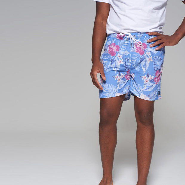 Big men's Kitaro floral swim shorts in vintage blue - close up view