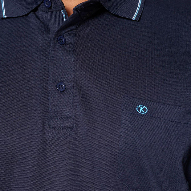 Big mens Kitaro Polo Shirt in Navy - front view