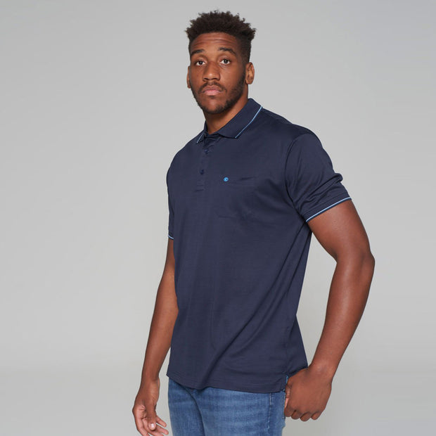 Big mens Kitaro Polo Shirt in Navy - back view