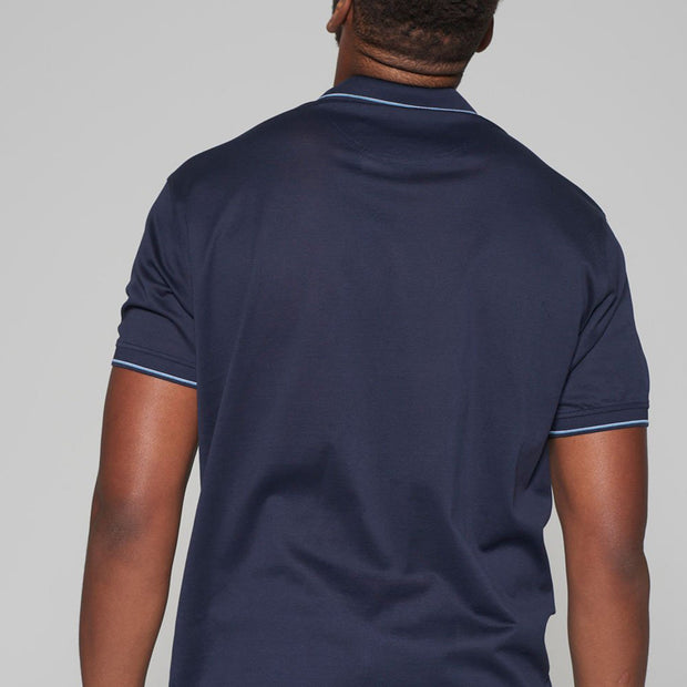 Big mens Kitaro Polo Shirt in Navy - side view