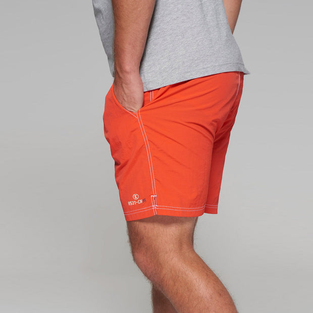 Big men's Kitaro swim shorts in red - side view