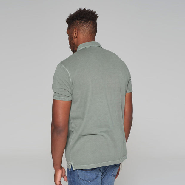 Big men's Kitaro washed green polo shirt - front view