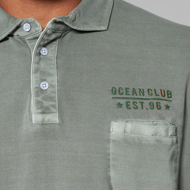 Big men's Kitaro washed green polo shirt - close up