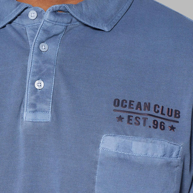 Kitaro polo shirt - wash navy - close view