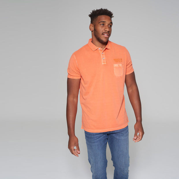Big men's Kitaro washed orange polo shirt - full body