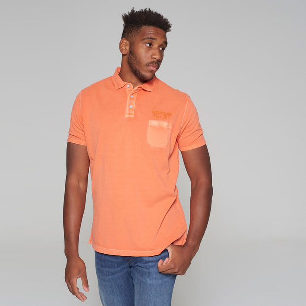 Big men's Kitaro washed orange polo shirt - front view