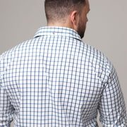 Campione - Deep Indigo Blue Check Long Sleeve Shirt front view
