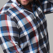 Casa Moda - Black & Orange Check Brushed Cotton Shirt - side view