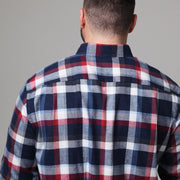 Blue & Red Check Brushed Cotton Shirt - front view