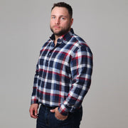 Blue & Red Check Brushed Cotton Shirt side view