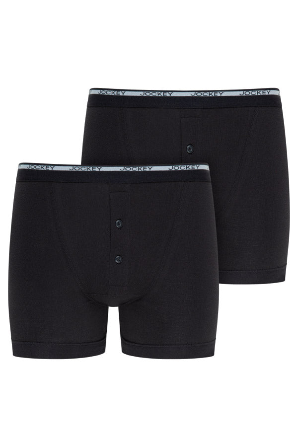 Jockey Boxer Trunks 2-Pack in Black front view