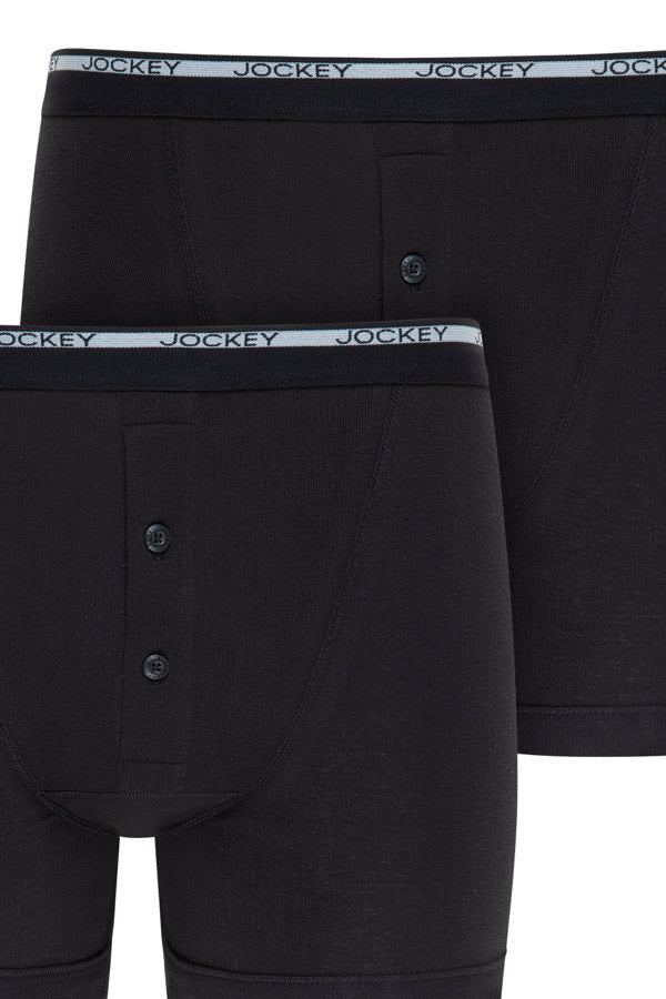 Jockey Boxer Trunks 2-Pack in Black close up