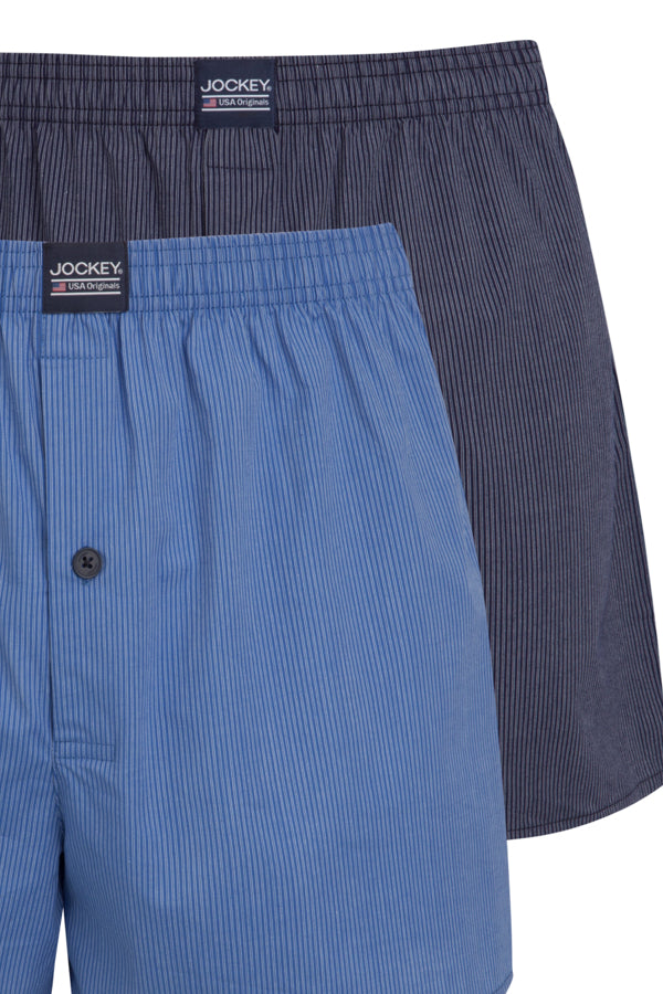 Jockey Boxer Shorts 2-Pack in Blue Check close up