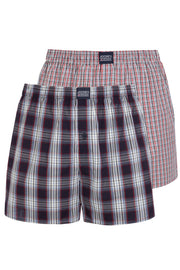 Jockey Boxer Shorts 2-Pack in Blue + Red Check front view