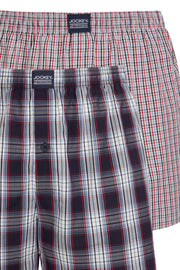 Jockey Boxer Shorts 2-Pack in Blue + Red Check close up