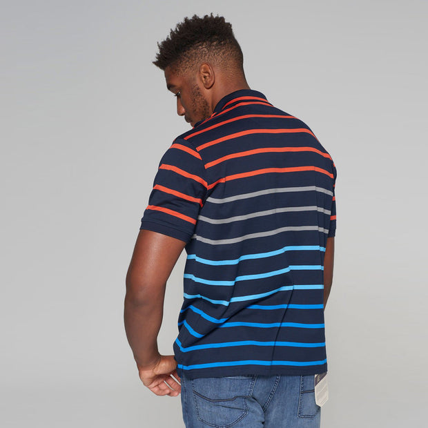 big mens Kitaro striped polo Riviera - back view