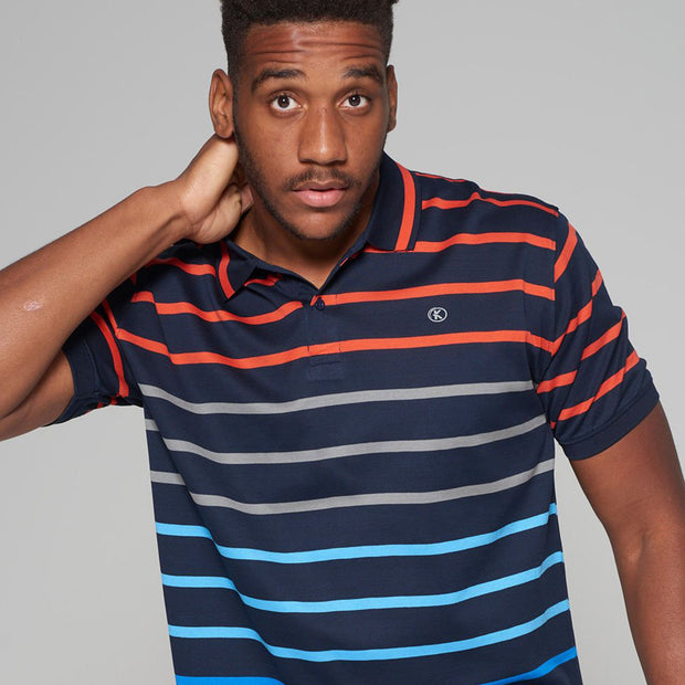 big mens Kitaro striped polo Riviera - side view