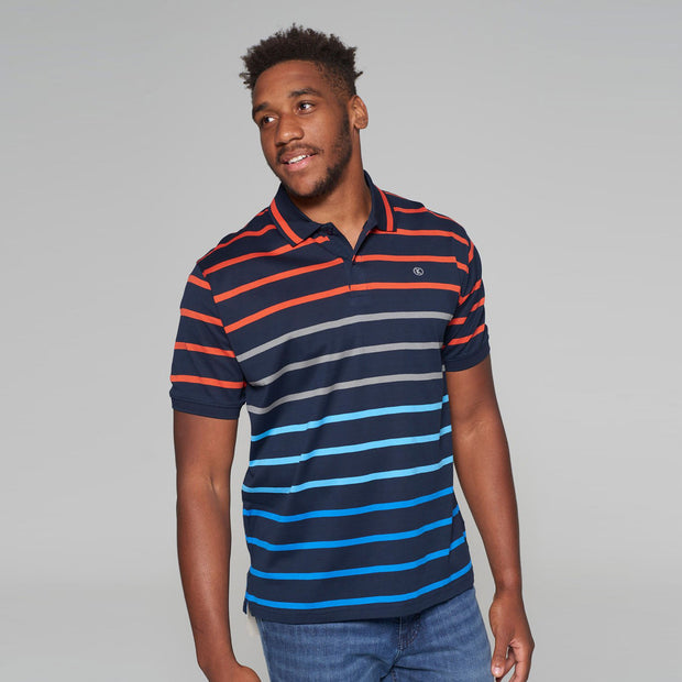 big mens Kitaro striped polo Riviera - front view
