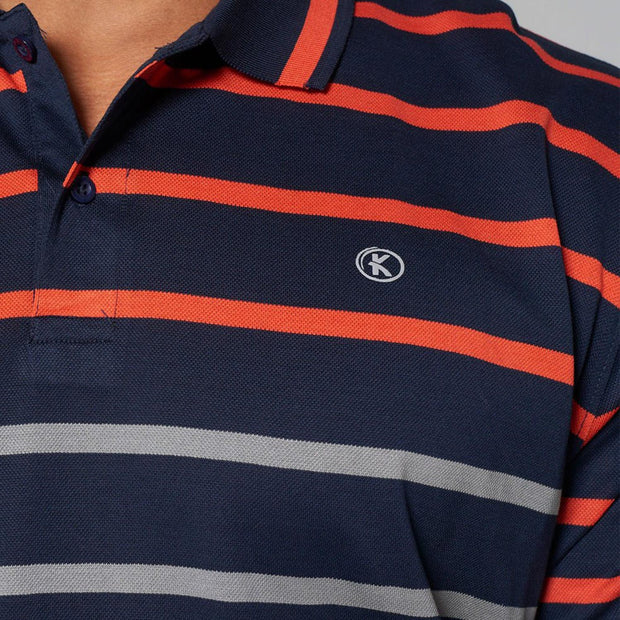 big mens Kitaro striped polo Riviera - close up view
