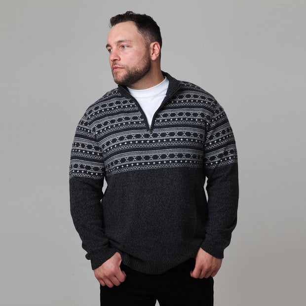 Kitaro - Half Zip Knit Jumper - Charcoal - sde view