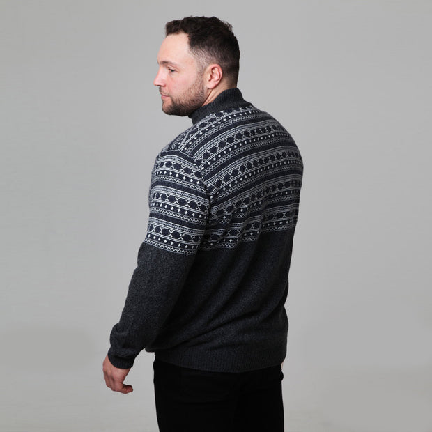 Kitaro - Half Zip Knit Jumper - Charcoal - back view