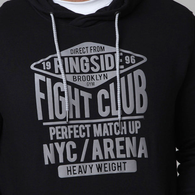 New York Boxing Hoodie in Black super close up