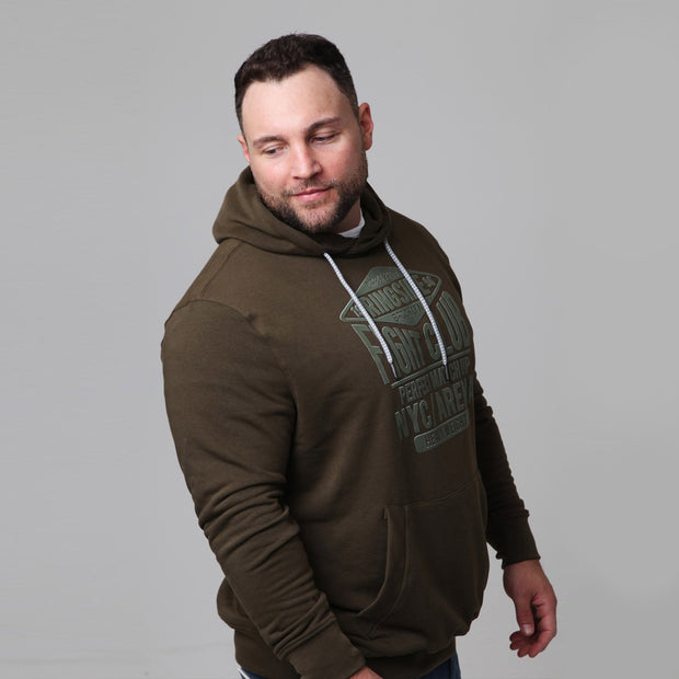 Kitaro - New York Boxing Hoodie in Olive - side view