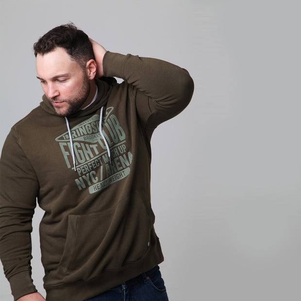Kitaro - New York Boxing Hoodie in Olive - front view arm up