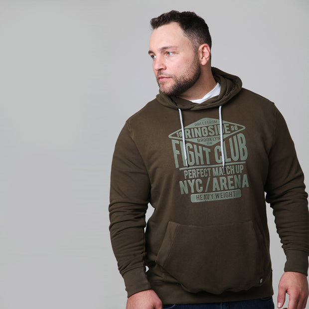 Kitaro - New York Boxing Hoodie in Olive - front view - looking to the side