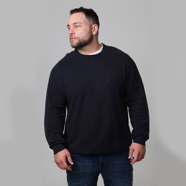 North 56°4 - Classic Crew Neck Knit in Navy Blue - close up