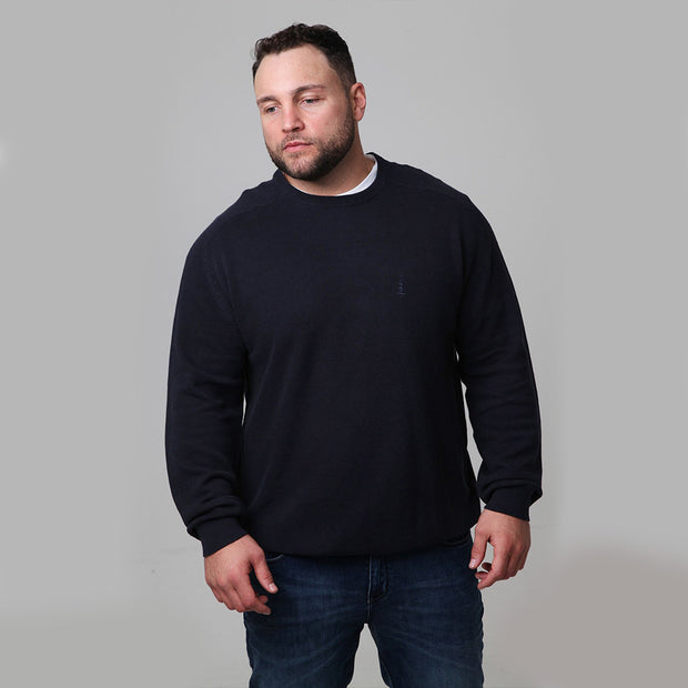 North 56°4 - Classic Crew Neck Knit in Navy Blue - back view