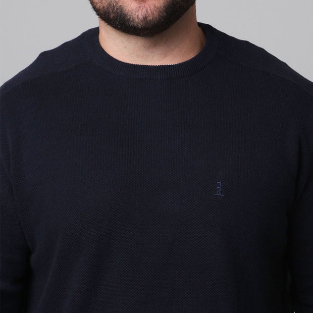 North 56°4 - Classic Crew Neck Knit in Navy Blue - side view