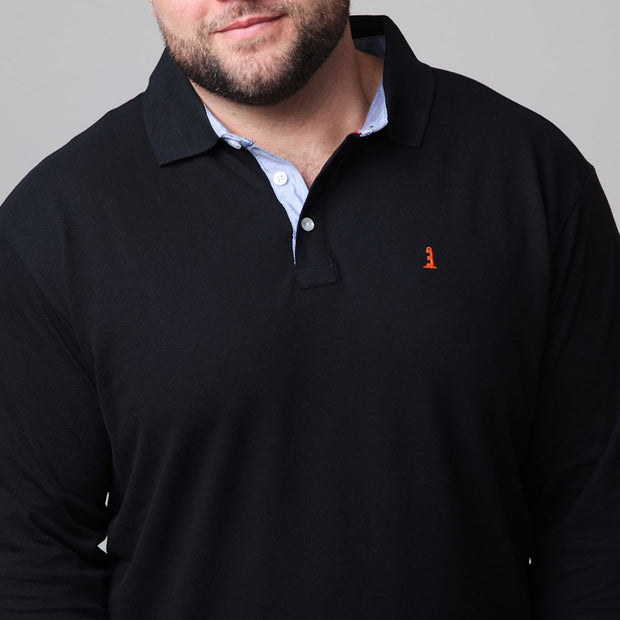 North 56°4 - Yachting Polo Long Sleeve in Black close up