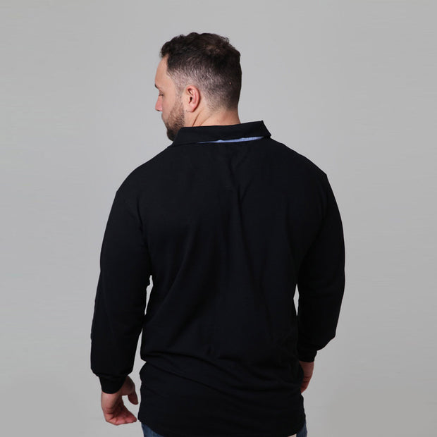 North 56°4 - Yachting Polo Long Sleeve in Black front view