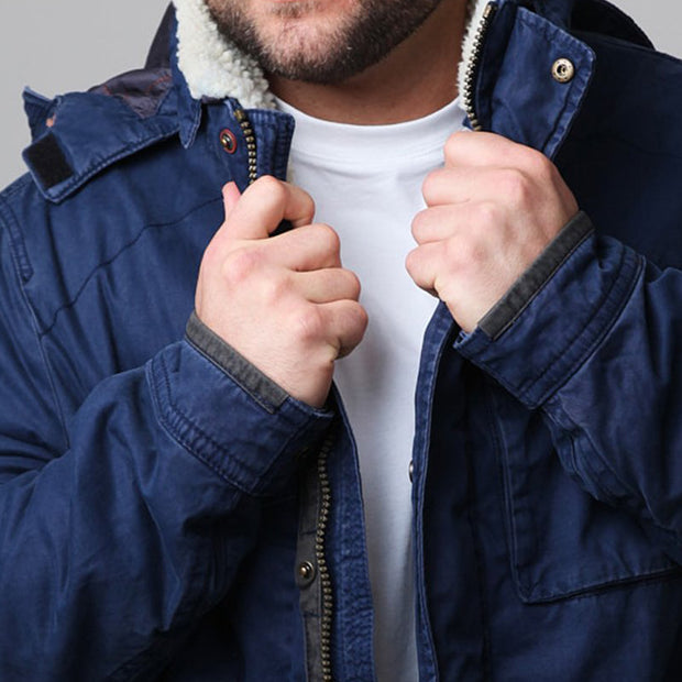 Redpoint - Karlton Jacket with Removable Hood in Navy - close up arm view