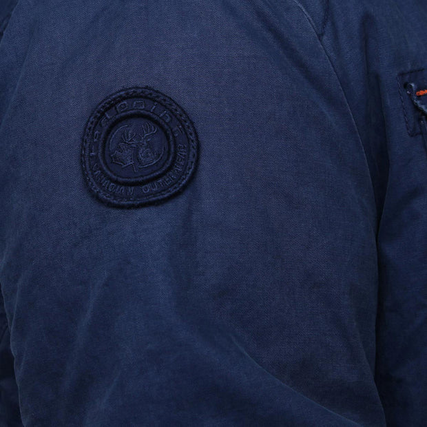Redpoint - Karlton Jacket with Removable Hood in Navy - close up arm view, left side