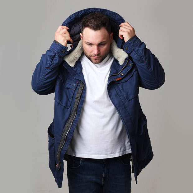 Redpoint - Karlton Jacket with Removable Hood in Navy - front view with hood up