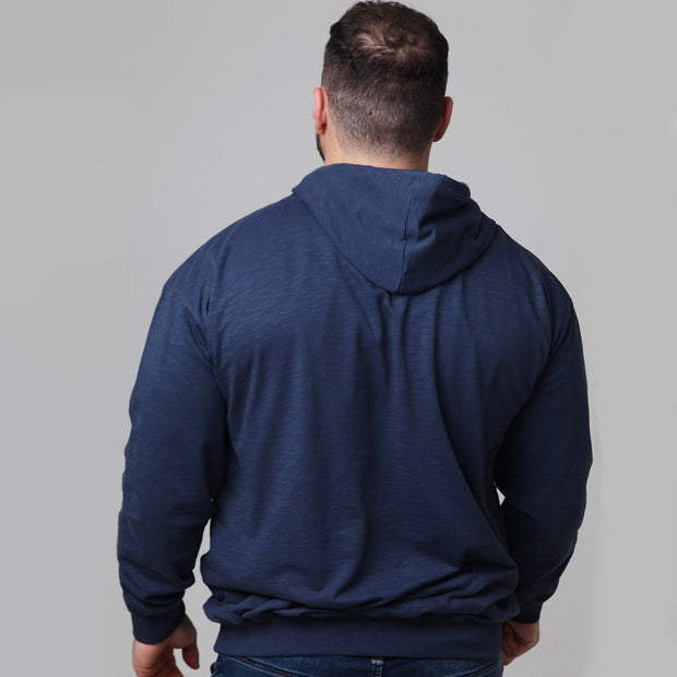 Replika - Athletic Hooded Sweat in Deep Blue back view