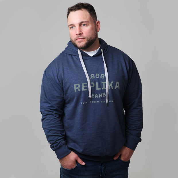 Replika - Athletic Hooded Sweat in Deep Blue front view