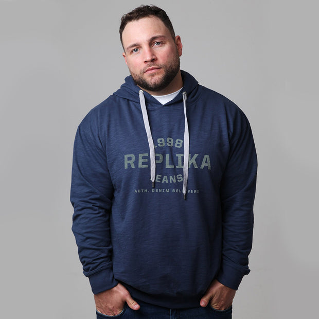 Replika - Athletic Hooded Sweat in Deep Blue - front view