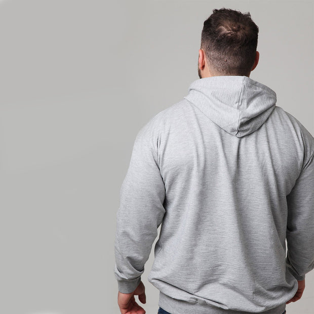 Replika Athletic Hooded Sweat in Grey Melange - back view