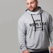 Replika Athletic Hooded Sweat in Grey Melange - front view closer in