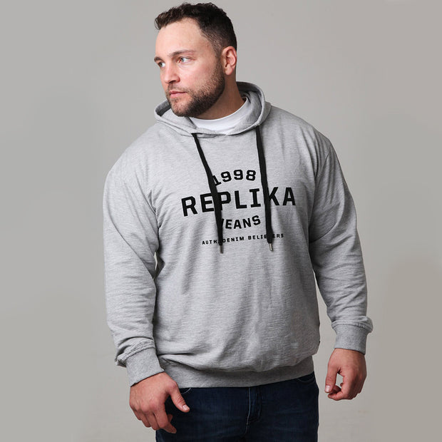 Replika Athletic Hooded Sweat in Grey Melange - front view