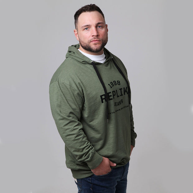 Replika Athletic Hooded Sweat in Olive Green - side view