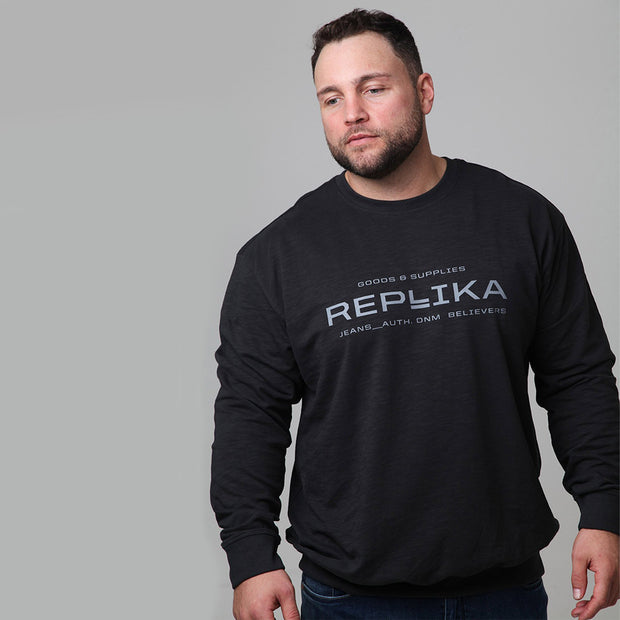 Replika Vintage Crew Neck Sweatshirt in Black front view