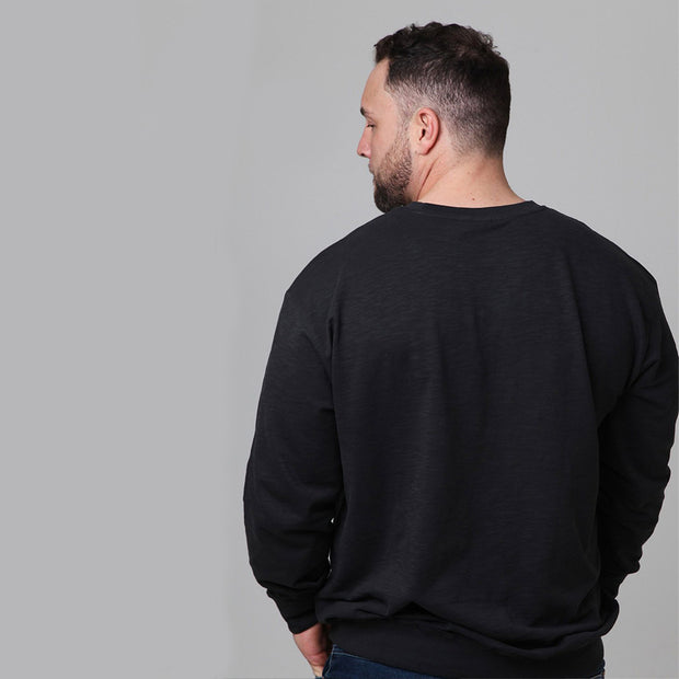 Replika Vintage Crew Neck Sweatshirt in Black back view