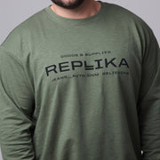 Replika - Vintage Crew Neck Sweatshirt in Green - front view close up