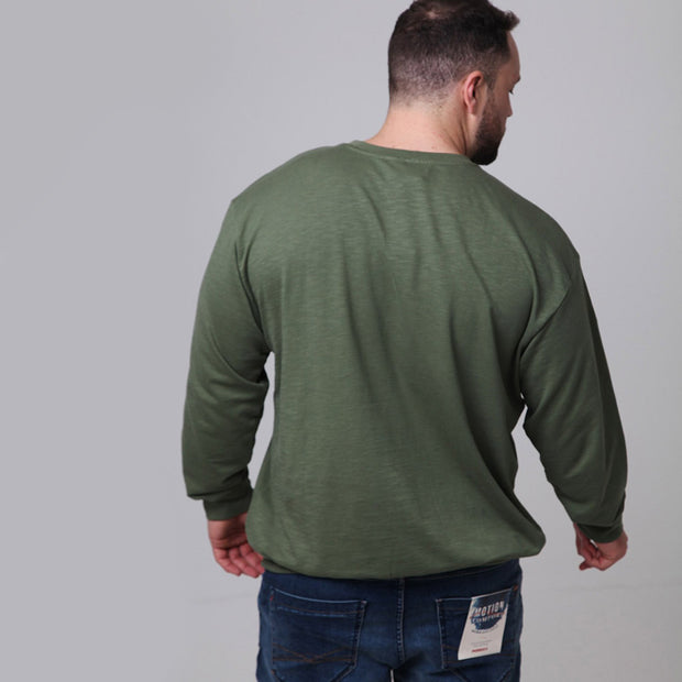 Replika - Vintage Crew Neck Sweatshirt in Green - back view