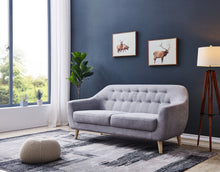 "Load image into Gallery viewer, Contemporary Modern Sofa, Fabric, 67""W, Light Gray"