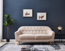 "Load image into Gallery viewer, Contemporary Modern Sofa, Fabric, 67""W, Beige"